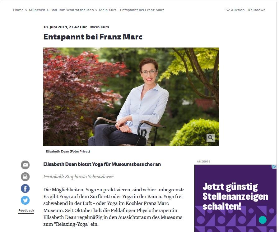 Beitrag Entspannt bei Franz Marc auf www.sueddeutsche.de
